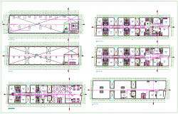 Structural floor plan of three star hotel dwg file
