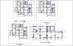 Structural floor plan view of regional area dwg file