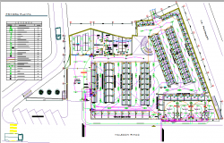 Structural layout plan details of central shopping center dwg file