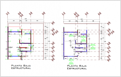 Structural lower level plan wall detail with construction view dwg file