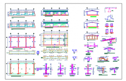 Structural plan and elevation with structural detail of school dwg file