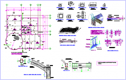 Structural plan of multi purpose use hall dwg file