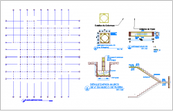 Structural plan with wall and stair section detail view for cardiology hospital dwg file