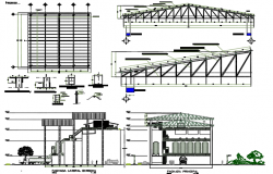 Structural rubber processing plant elevation and section detail dwg file