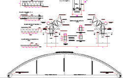Structural steel roof truss construction details dwg file