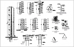 Structural view of antenna tower dwg file