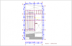 Structural view of ceiling area of single story apartment dwg file