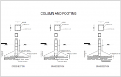 Structural view of column and footing of school building dwg file