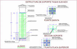Structural view of column for water tank elevation dwg file