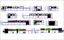 Structural view of company, axis section & sectional elevation view dwg file