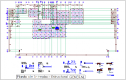 Structural view of enterprise plan dwg file