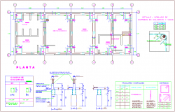 Structural view of first floor plan with detail for office dwg file