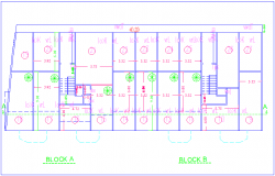 Structural view of high rise building plan for block A and B dwg file