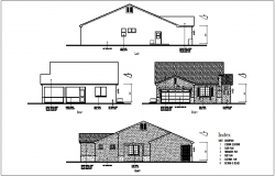 Structural view of house left,right and front view dwg file