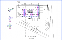 Structural view of low plan for office dwg file