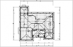Structural view of roof plan with beam view dwg file