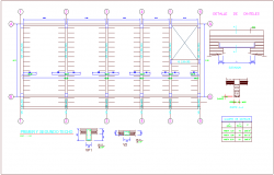 Structural view of second floor of office with column detail view dwg file