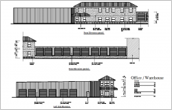 Structural view of ware house dwg file