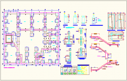 Structural view with column detail of school floor plan dwg file