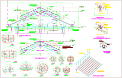 Structural view with detail of lifting tiler dwg file