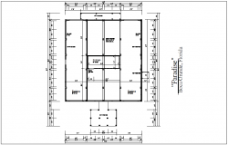 Structural view with detail of wood post for living area dwg file