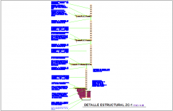 Structural view with footing view dwg file