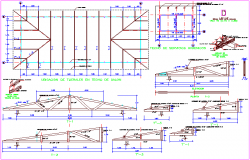 Structural view with roof plan with detail for multiple use hall dwg file