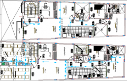 Structure Details of Two Family Housing Residency Architecture Layout dwg file