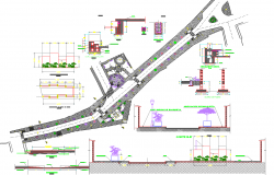 Structure detail and site plan layout detail view dwg file