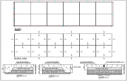 Structure detail view of floor slab plan and section view dwg file