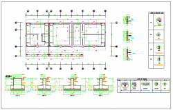 Structure details information of beam and columns dwg file