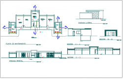 Structure elevation and section view detail dwg file