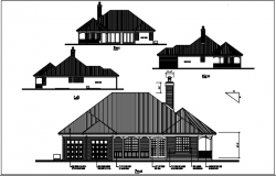 Structure elevation file Left & right elevation,front & rear elavation details with dimension details dwg files