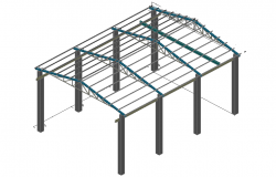 Structure for industrial roof 3 d detail dwg file
