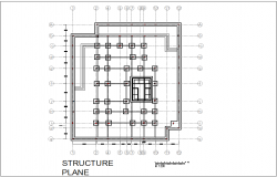 Structure plan with view of mixed used building dwg file
