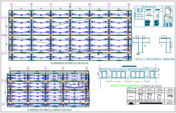 Structure view with beam and column view of collage dwg file