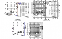Super Market sectional details with floor plan view dwg file