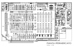 Supermarket and department store detail plan 2d view layout file