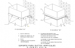 Support for vertical pipeline symbol detail dwg file