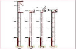 Supporting beam structural detail sectional view dwg file