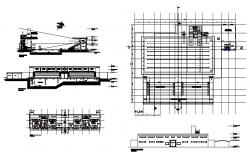 Swimming pool and sports center elevation, section and plan details dwg file
