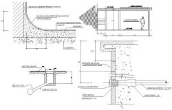 Swimming pool components details dwg file