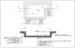 Swimming pool plan section elevation view detail dwg file