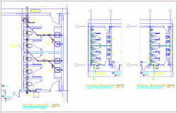 System of white and black water sanitary plant system for classroom dwg file