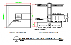 TYPICAL DETAIL OF COLUMN FOOTING DESIGN DRAWING