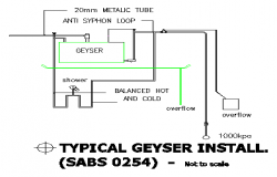 TYPICAL GEYSER INSTALL section detail design drawing