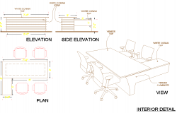 Table and chair plan detail autocad file