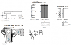 Table design drawing of furniture of offices used