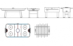 Table football and air hockey detail dwg file