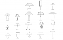 Table lamps plan detail dwg file.